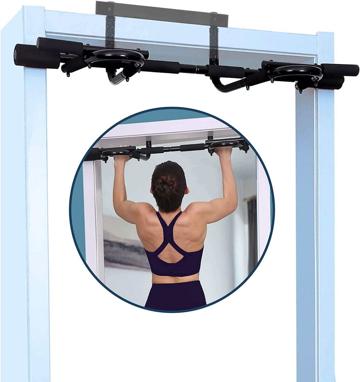 Walmann Doorway Pull Up Bar Fitness for Home Chin-up Strength Training Bar Gym System Exercise Multifunction Pullup One-Piece No Drilling Upper Body Trainer(Upgraded)