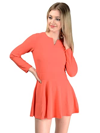 a2712819f98c Pink Lace Orange Skater Dress with Sleeves  Amazon.in  Clothing ...