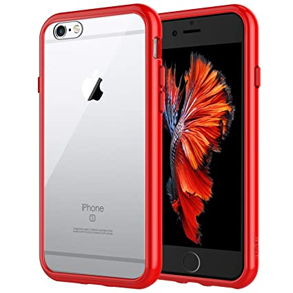 JETech Case for Apple iPhone 6 and iPhone 6s, Shock-Absorption Bumper Cover, Anti-Scratch Clear Back (Red)