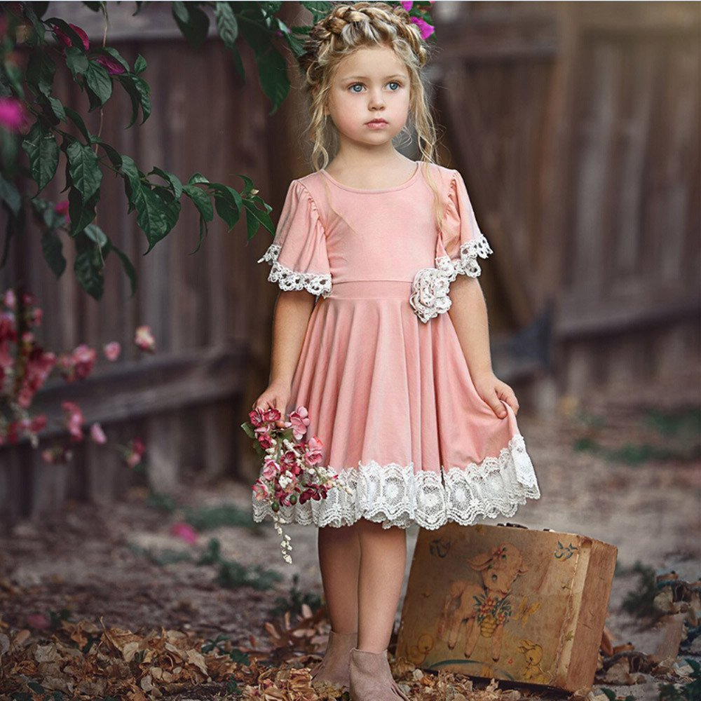 Tanhangguan Baby Girl Dresses Lace Floral Party Dress Summer Short Sleeve Solid Princess Dresses Clothes Outfits
