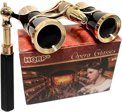 Improved Black Opera Glasses with Gold Trim /& Elegant Lorgnette Foldable Handle