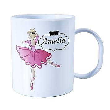 Taza personalizada para niños de plástico irrompible, taza para bebé, diseño de bailarinas para niñas.: Amazon.es: Hogar