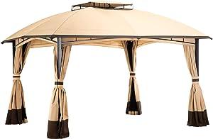 PAMAPIC 10'x12' Outdoor Patio Garden Gazebo Tent, Outdoor Shading, Gazebo Canopy with Mosquito Net (Beige)