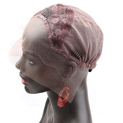 Bella Hair Casquillos Pelucas de Encaje Rosa para Pelucas Fabricación Marrón Claro Tamaño Medio - con