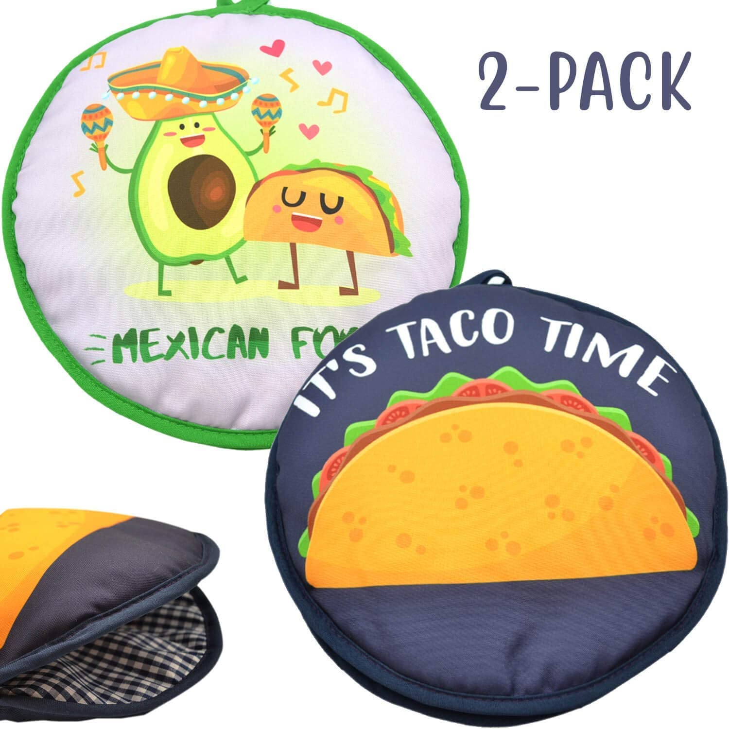 "Microwaveable X-Large Tortilla Warmer Pouch 2 Pack - 2 Fun Designs""Taco Time"" &""Mexican Food"" to make taco night special. 12 Inch in Diameter Microwave Corn or Flour Tortillas, Pizza, Naan Bread"