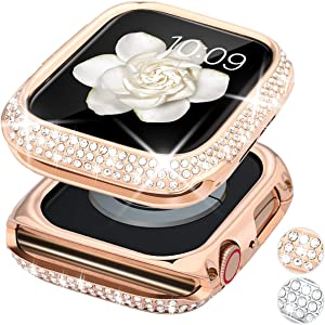 Goton Bling Case Compatible for Apple Watch Case 44mm SE / Series 6 5 4 , Women Girl Luxury Sparkling Crystal Diamond Stainless Metal Bezel Case Cover for SE / Series 6 5 4 (Rosegold, 44mm)