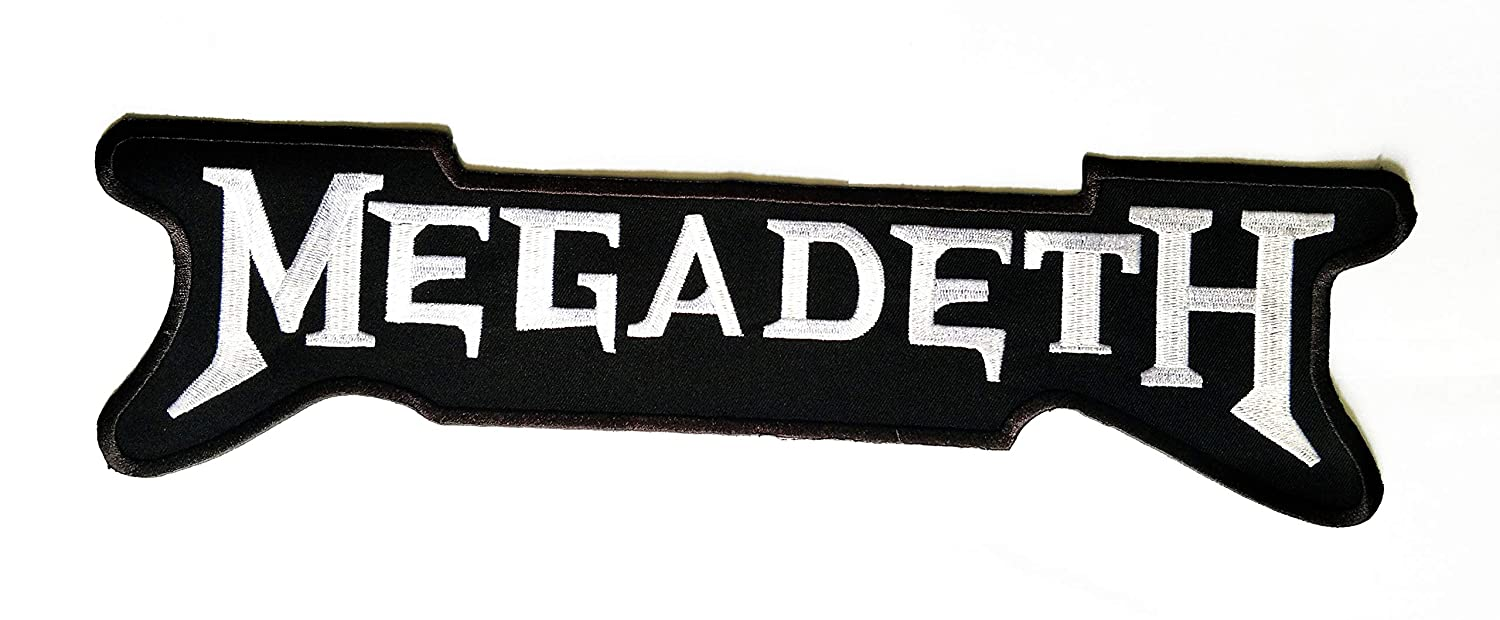 13.5'' X 4'' Large Big Patch White Black Megadeth Music Band Logo Jacket t-Shirt Jeans Polo Patch Iron on Embroidered Logo Motorcycle Rider Biker Patch by Tour les jours Shop