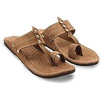 RYAG Men Kolhapuri Design Leather Ethnic Mojari Slipper (Brown)