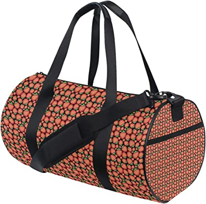 Sports Gym Duffel Barrel Bag Strawberry Summer Pattern Travel Luggage Handbag for Men Women