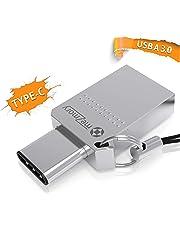 meZmory - 2 in 1 Dual Chiavetta USB 32GB < Type C e USB-A 3.0 > Memory Stick Tipo C 32 gb - Impermeabile & Veloce in Metallo - Flash Drive Ideale per Portachiavi/Anelli in Argento