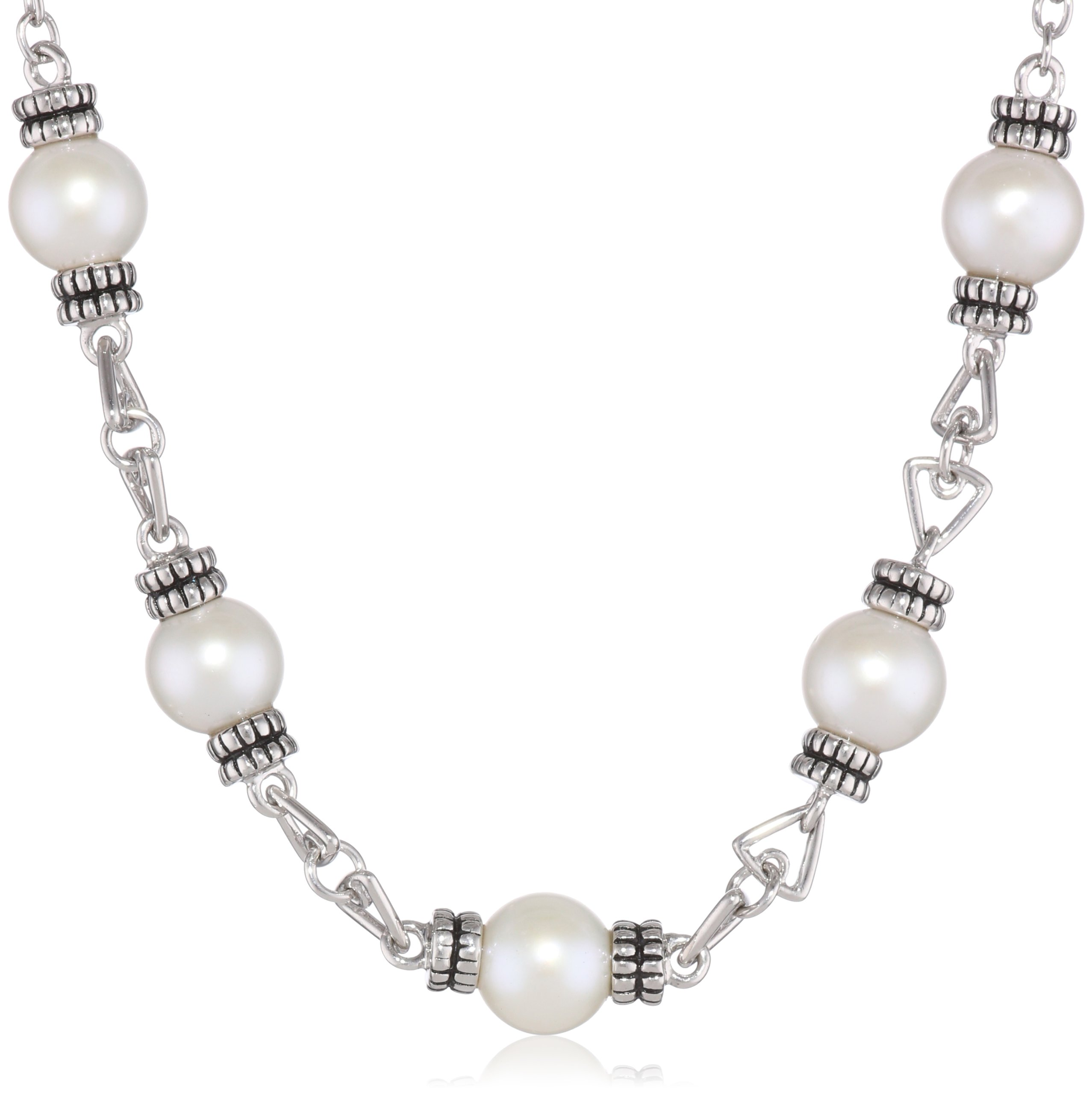 Sterling Silver Rhodium Plated Freshwater Cultured Pearl Necklace, 17''