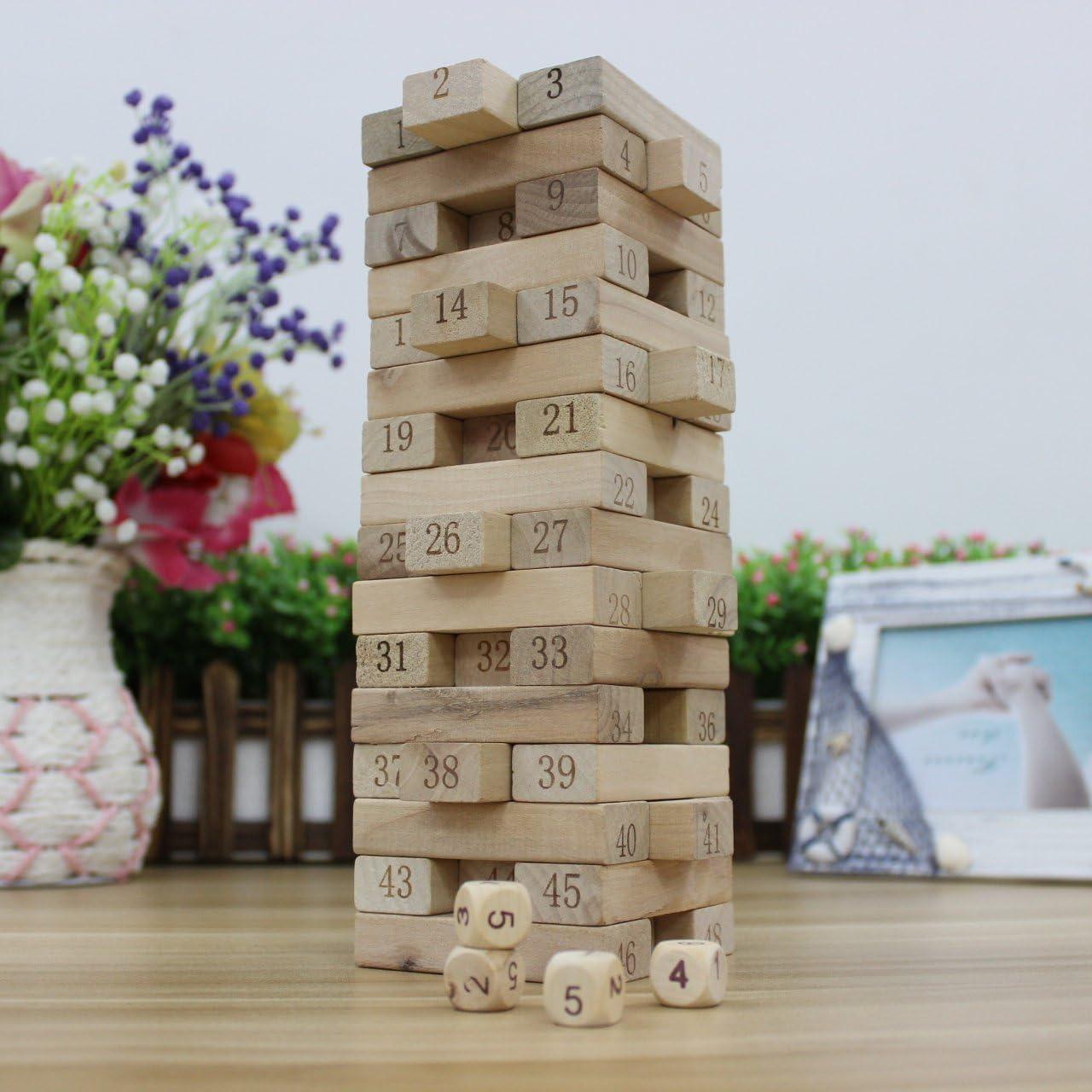 Número de bloques de madera juego jenga pila y caída de apilamiento Puzzle playset.Clasico juego, juguetes de madera - 48pcs bloques 4pcs dados: Amazon.es: Juguetes y juegos