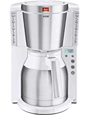 Melitta Look IV Therm Timer, 1011-15, Filter Coffee Machine with Insulated Jug, Timer Feature, Aroma Selector, White/Brushed Steel