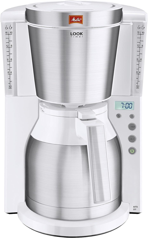 Melitta Look IV Therm Timer Cafetera de Filtro con Jarra Isotérmica, 1000 W, 1.25 litros, Blanco: Amazon.es: Hogar