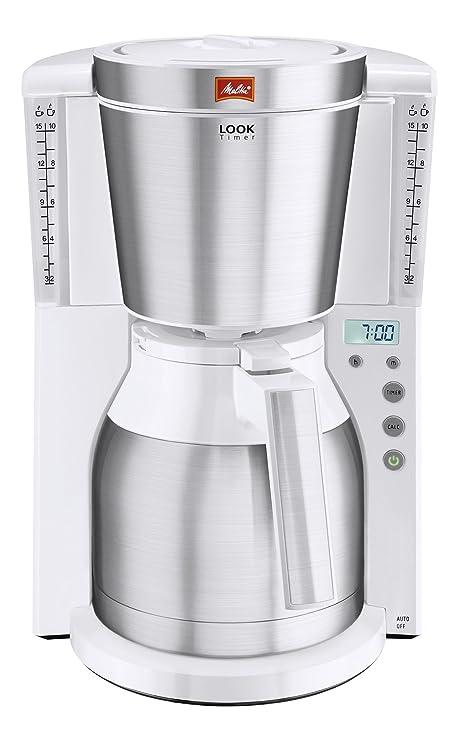 Melitta Look IV Therm Timer Cafetera de Filtro con Jarra Isotérmica, 1000 W, 1.25 litros, Blanco