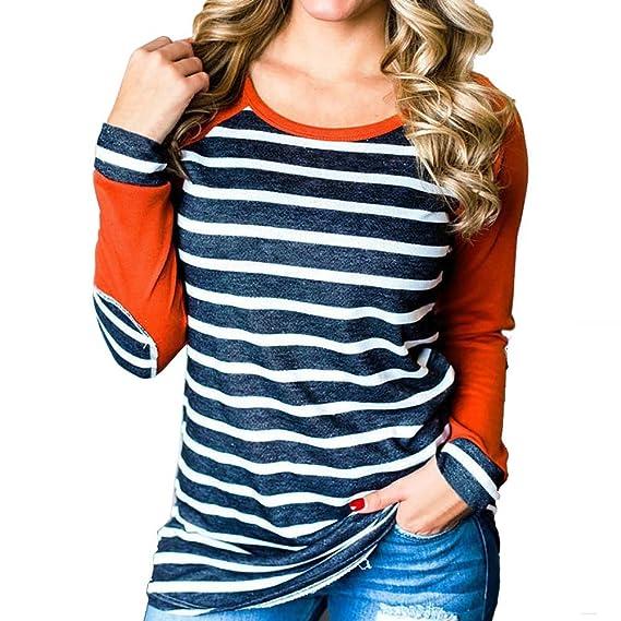 VJGOAL Mujeres Casual Moda Pullover Patchwork de Manga Larga Clásico Wild Stripe Shirt Tops Blusa Camiseta