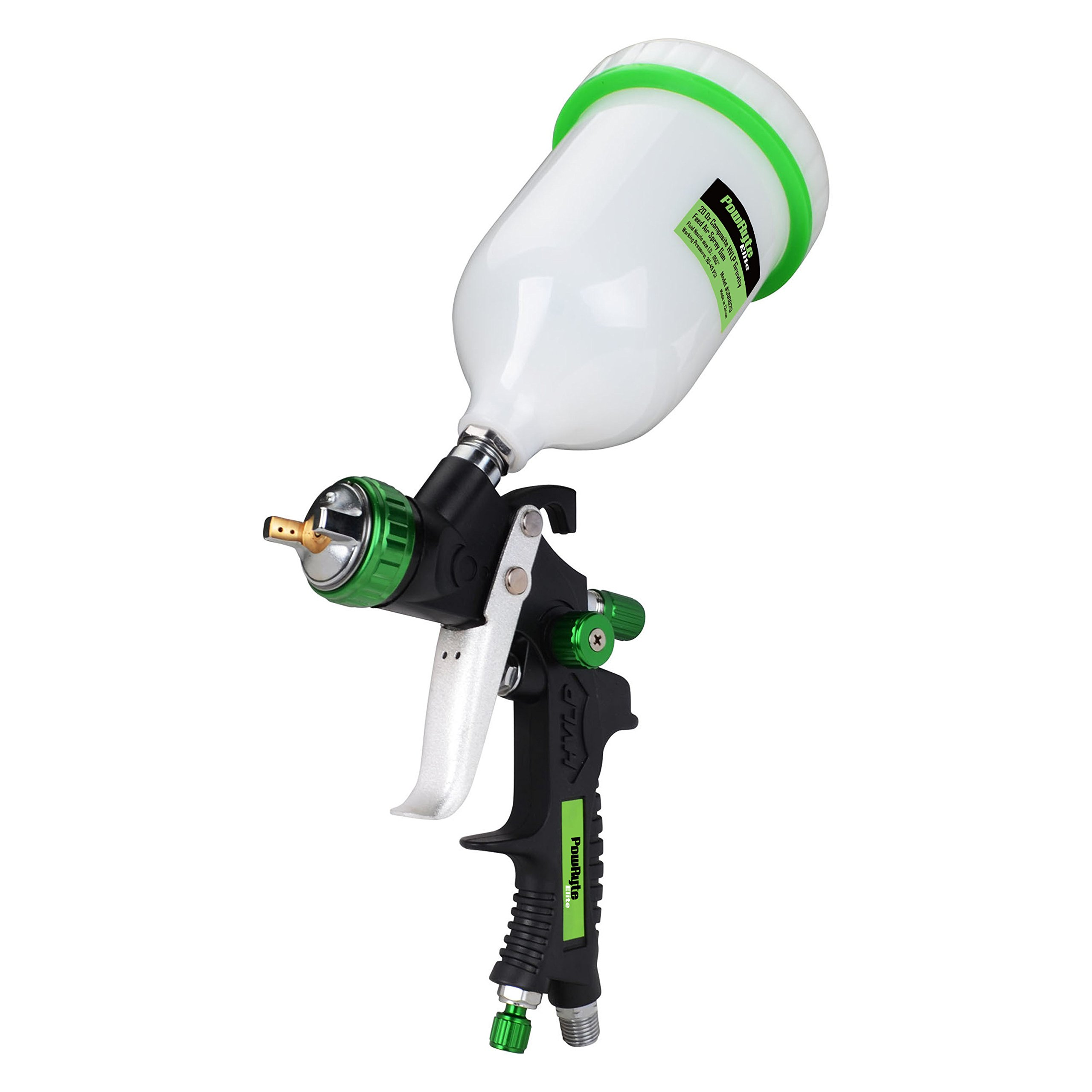 PowRyte Elite 20 Oz Composite HVLP Gravity Feed Air Spray Gun - 1.4mm Nozzle