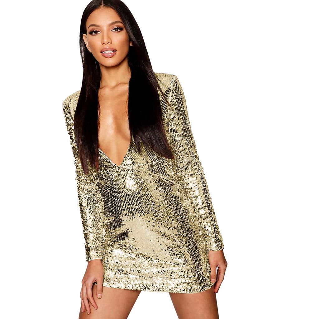 SMILEQ Dress Women Deep V Ball Gown Sequin Wrap Ruched Long Sleeve Nightclub Mini Dress