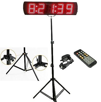 """ganxin portátil 5 """"alta Character LED de 5 dígitos Carrera calendario reloj con trípode"""