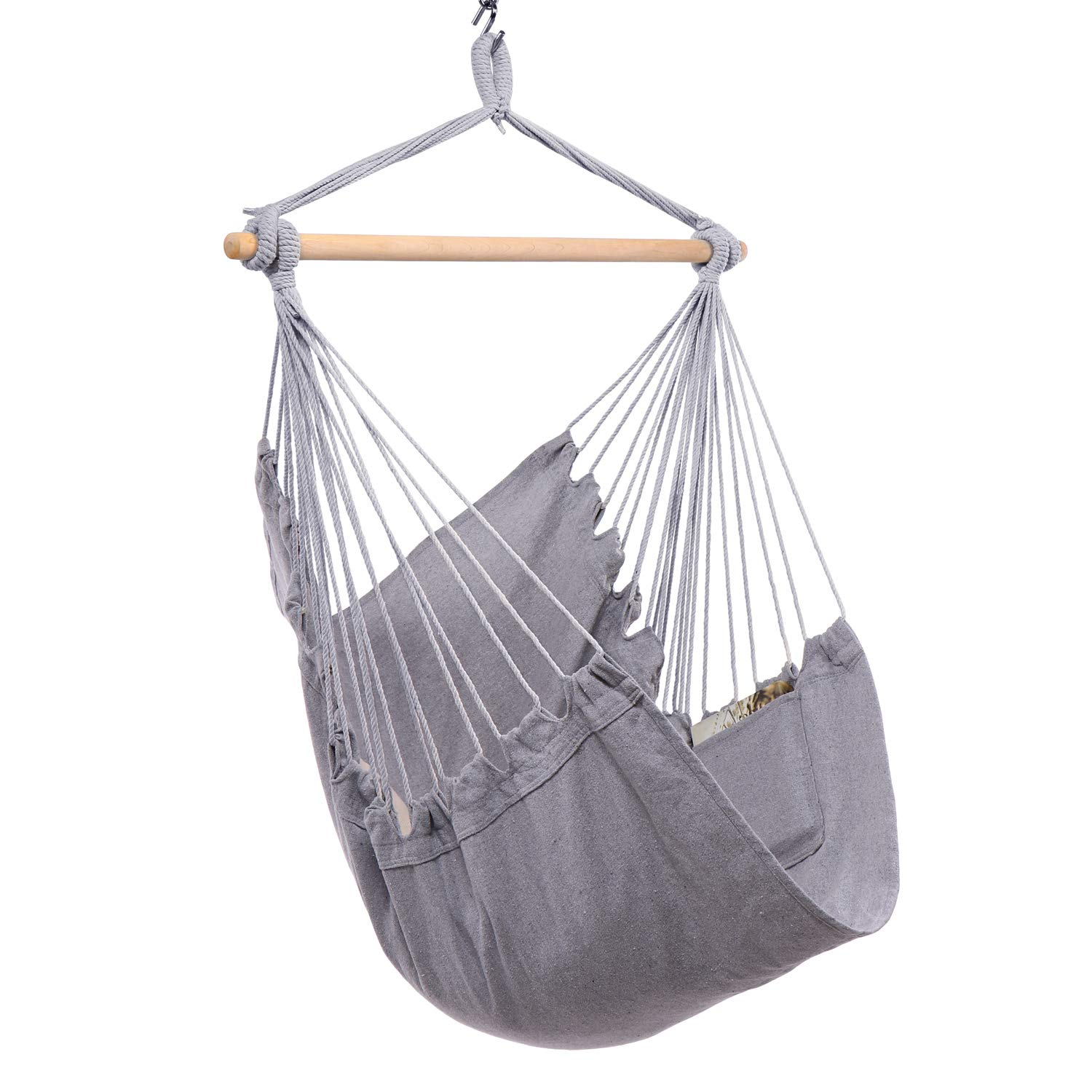 Y- STOP Hammock Chair Hanging Rope Swing, Max 330 Lbs, Quality Cotton Weave for Superior Comfort, Durability (Light Grey)