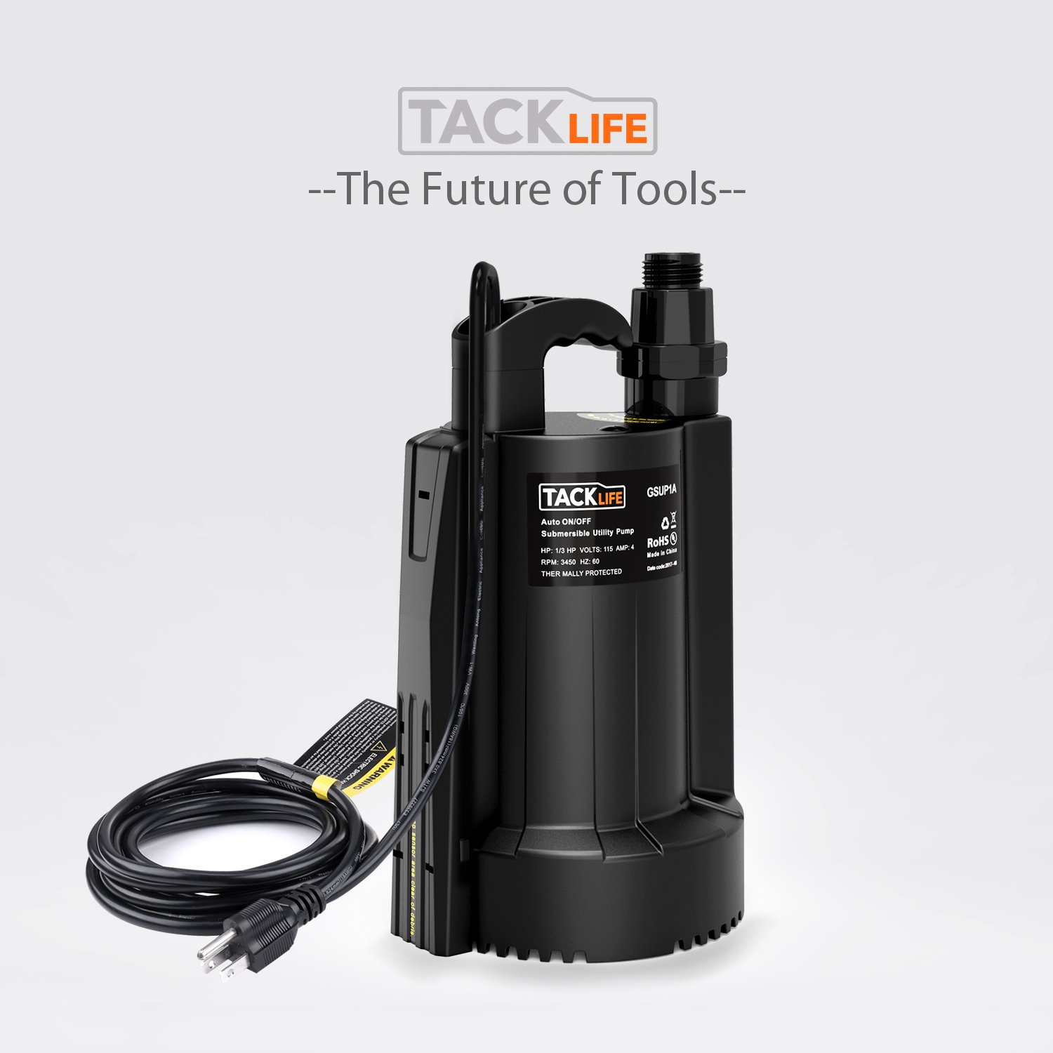 Low Noise with Check Valve TACKLIFE-GSUP1A-HS01 4 Amp High-efficiency Pure Copper Motor with Thermal Protection-2550 GPH Maximum flow Tacklife 1//3 HP Automatic ON//OFF Electric Water Removal Pump Submersible Water Pump