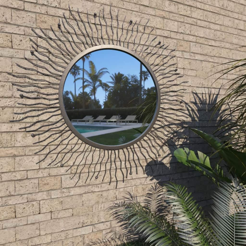 YCDTMY Garden Wall Mirror, Sunburst Design, Wall-Mounted Metal Look Round Mirror for Outdoors, Patio 31.4
