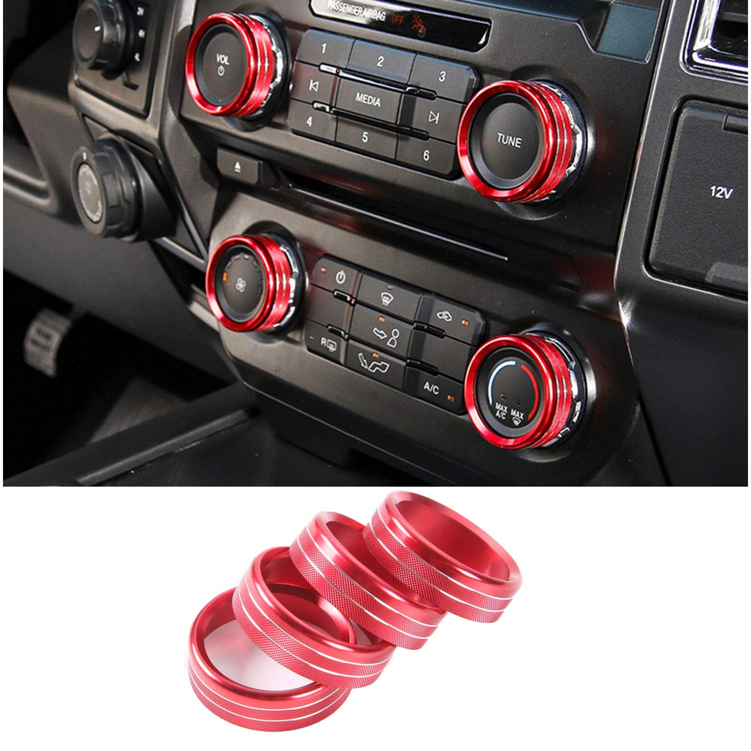 JOIN-WIT Inner Air Conditioner & Audio & Trailer & 4WD Switch Knob Ring Button Cover Trim for Ford F150 XLT 2016 2017 (6pcs Red) JOIN-WIT5