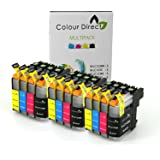 12 XL ColourDirect LC123 / LC121 Chipped Ink Cartridges for Brother DCP-J132W DCP-J152W DCP-J552DW MFC-J650DW DCP-J752DW DCP-J4110DW MFC-J870DW MFC-J4410DW MFC-J4510DW MFC-J4610DW MFC-J4710DW MFC-J470DW Printers