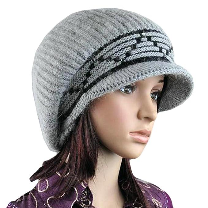 Locomo Women Girl Slouchy Zig Zag Pattern Fluffy Fur Pom Knit Beanie