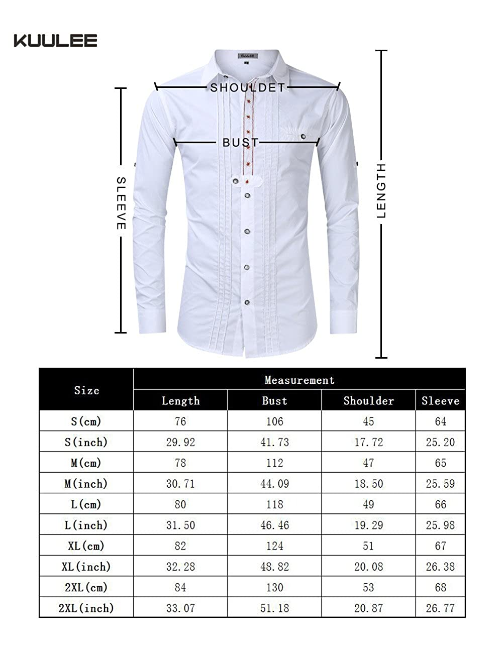 Kuulee Men/'s Slim Fit Embroidered Design Western Shirt Costume Long Sleeve Button Down Shirt