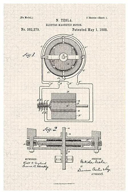 Electro Magnetic Motor Nikola Tesla Official Patent Diagram Poster