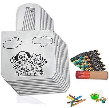 Pack de 30 Bolsas Coloreables con Ceras de Colores, 30 Paquetes de Ceras, 1 Estuche de lápìces con sacapuntas, 1 Huevo con Gomas para Regalos ...