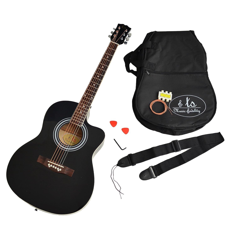 ts-ideen 4/4 Akustik Gitarre Westerngitarre Schwarz Zubehör gepolstete Tasche Gurt Ersatzsaiten 5270