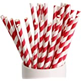 """Webake 144 Pack Biodegradable Paper Straws Stripes 7.75"""" for Birthdays,Holiday,Weddings,Baby Showers, Celebrations,Parties (Red)"""