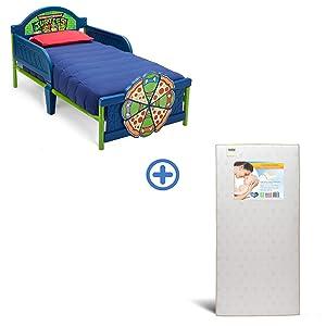 Delta Children 3D-Footboard Toddler Bed, Nickelodeon Ninja Turtles with Twinkle Stars Crib & Toddler Mattress