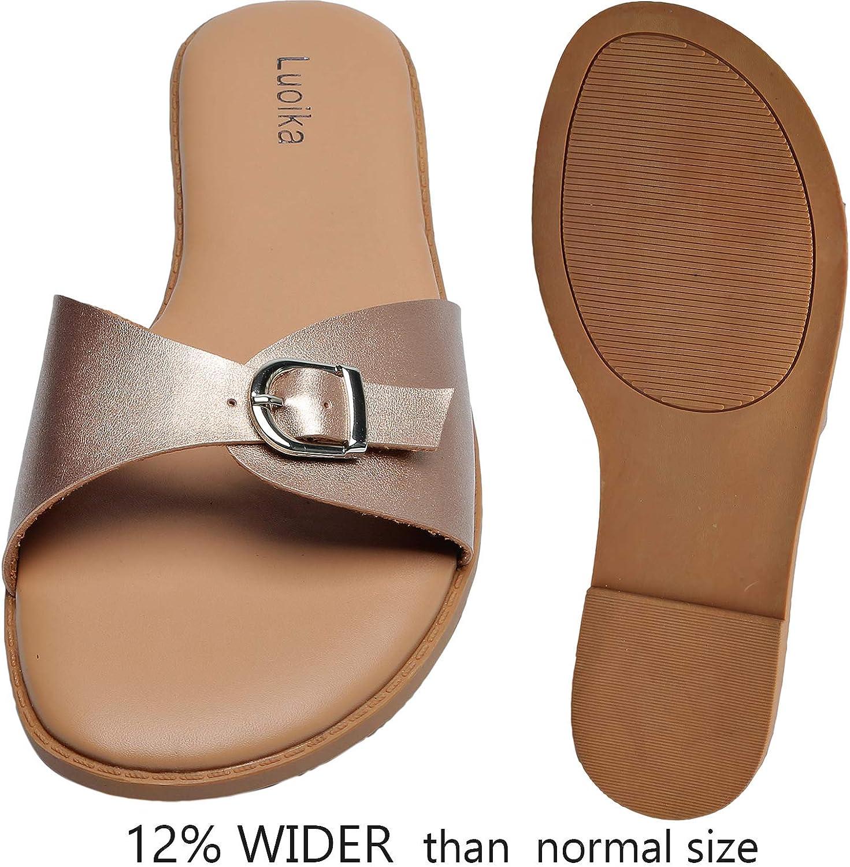 Luoika Womens Wide Width Slide Sandals