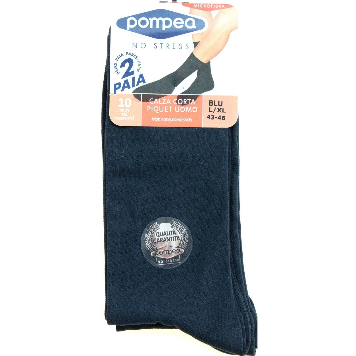 POMPEA 4 Paia di calze corte Uomo Piquet Blu 39/42-43/46 in microfibra