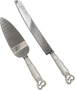 FASHIONCRAFT 2401 Interlocking Hearts Design Cake Knife and Server Set, Wedding Cake Knife and Server Set, Silver Stainless Knife Set