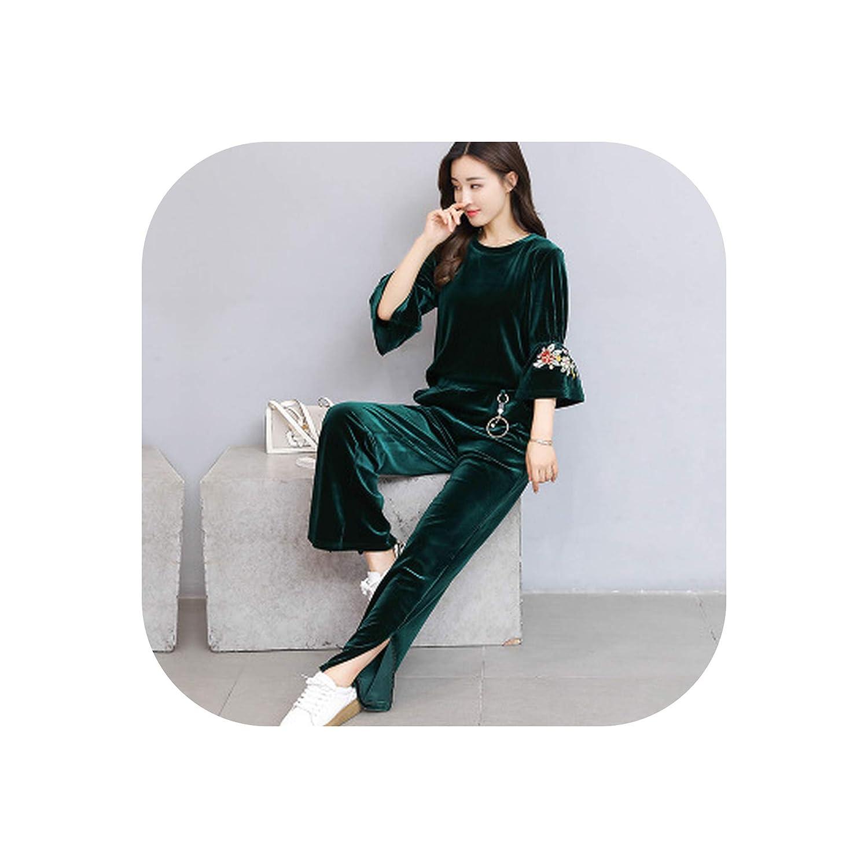 1 Old street Leisure Suits Women Fashion Velvet Suit Two Piece Set Velvet Embroidery Top + Wide Leg Pant