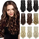 "DILUSILK Clip in Hair Extensions 7 PCS Thick 20"" 150g Soft Silky Body Wave Synthetic Hairpiece Ash Blonde/Bleach Blonde"