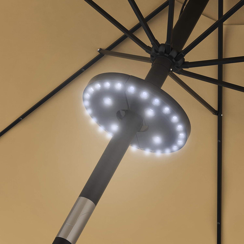 "Pure Garden 50-LG1213 Patio Umbrella Cordless 28 LED Lights, 3 Brightness Modes, 0.86""-1.8"" Pole, Black"