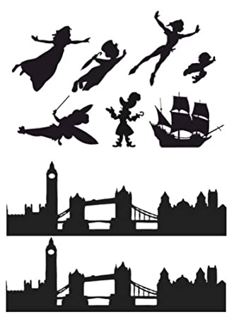 peter pan wendy london skyline silhouette edible icing decor for