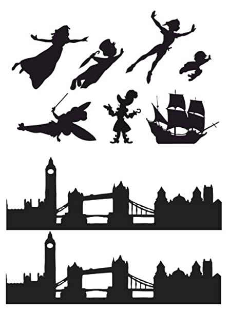 Peter Pan Wendy London Skyline Silhouette Edible Icing Decor For Themed Cake 1