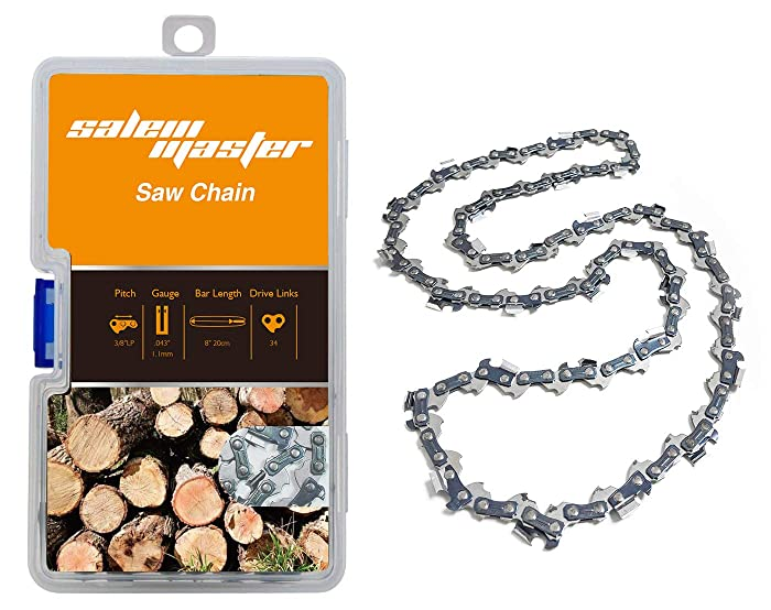 "SALEM MASTER 8 Inch Chainsaw Chains 3/8"" LP Pitch - .043"" Gauge - 34 Drive Links, Semi-Chisel Gas Powered Replacement Chainsaw Chain Fits for Craftsman, Poulan, Remington and More(8)"