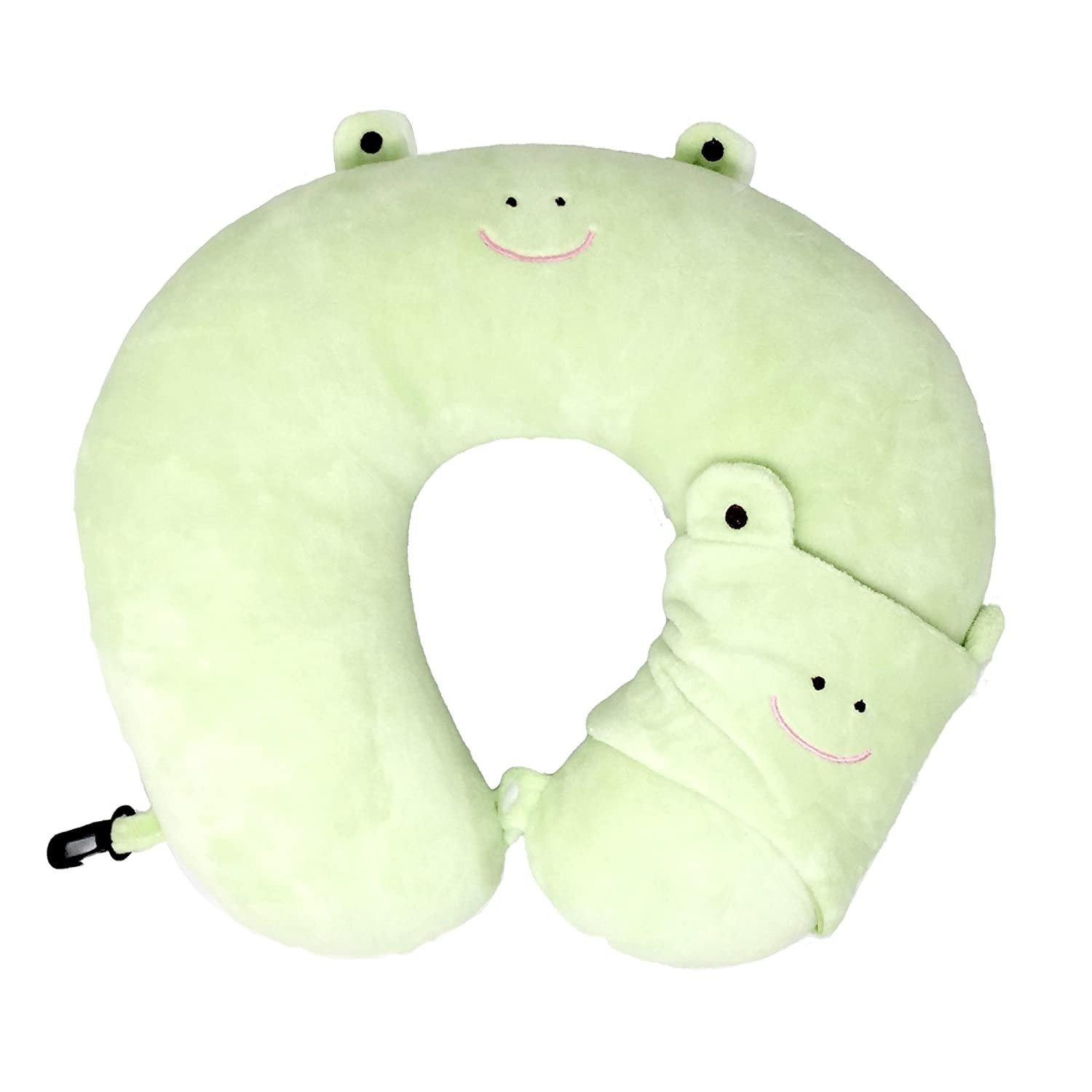 快適Kid 's Travel Neck Pillow with Sleeping Mask 11.5 x 11 x 3 inches グリーン  フロッグ(Frog) B0732XPDZW