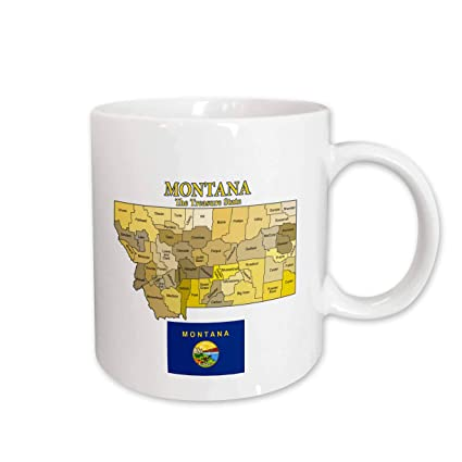 Montana State Map With Counties.Amazon Com 3drose 200238 2 Map And Flag Of Montana With State