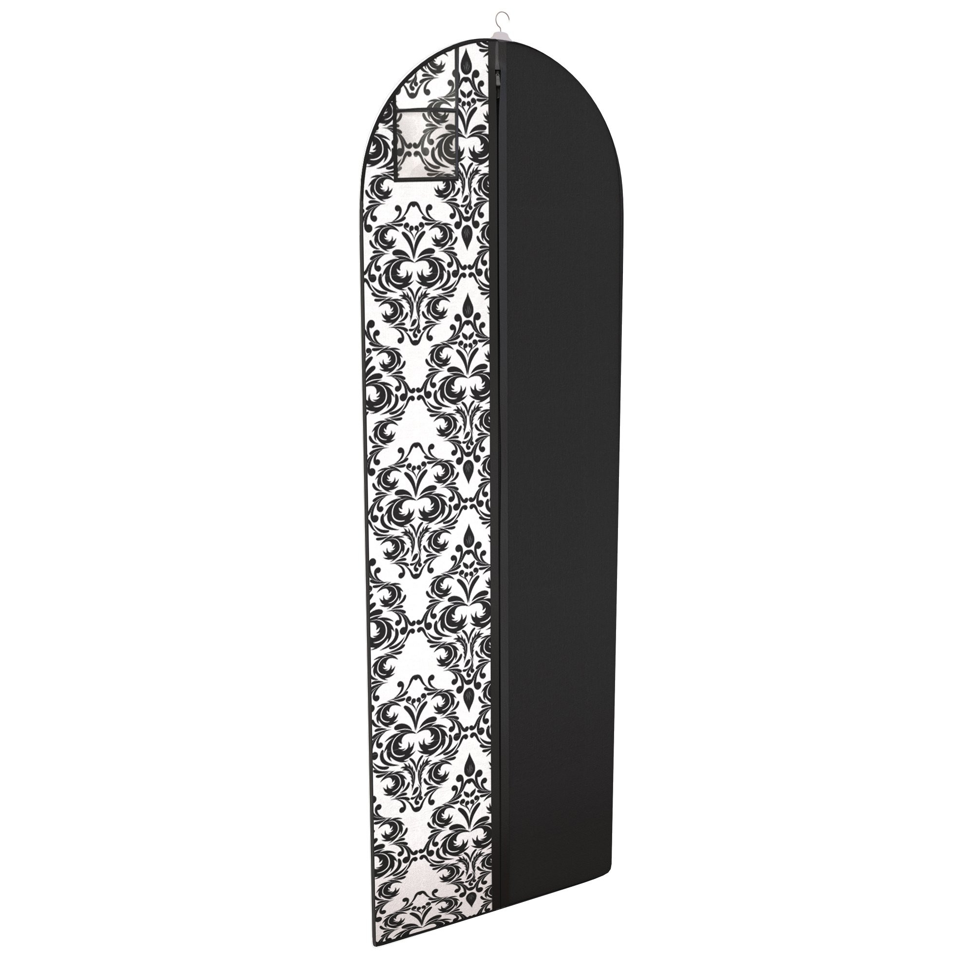 Gown Garment Bag for Women's Prom and Bridal Wedding Dresses - ID Window - 72'' x 24'' - Black and White Damask - by Your Bags