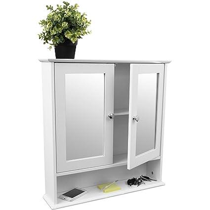 Armadietto da muro in legno bianco, per specchio da bagno, a doppia ...