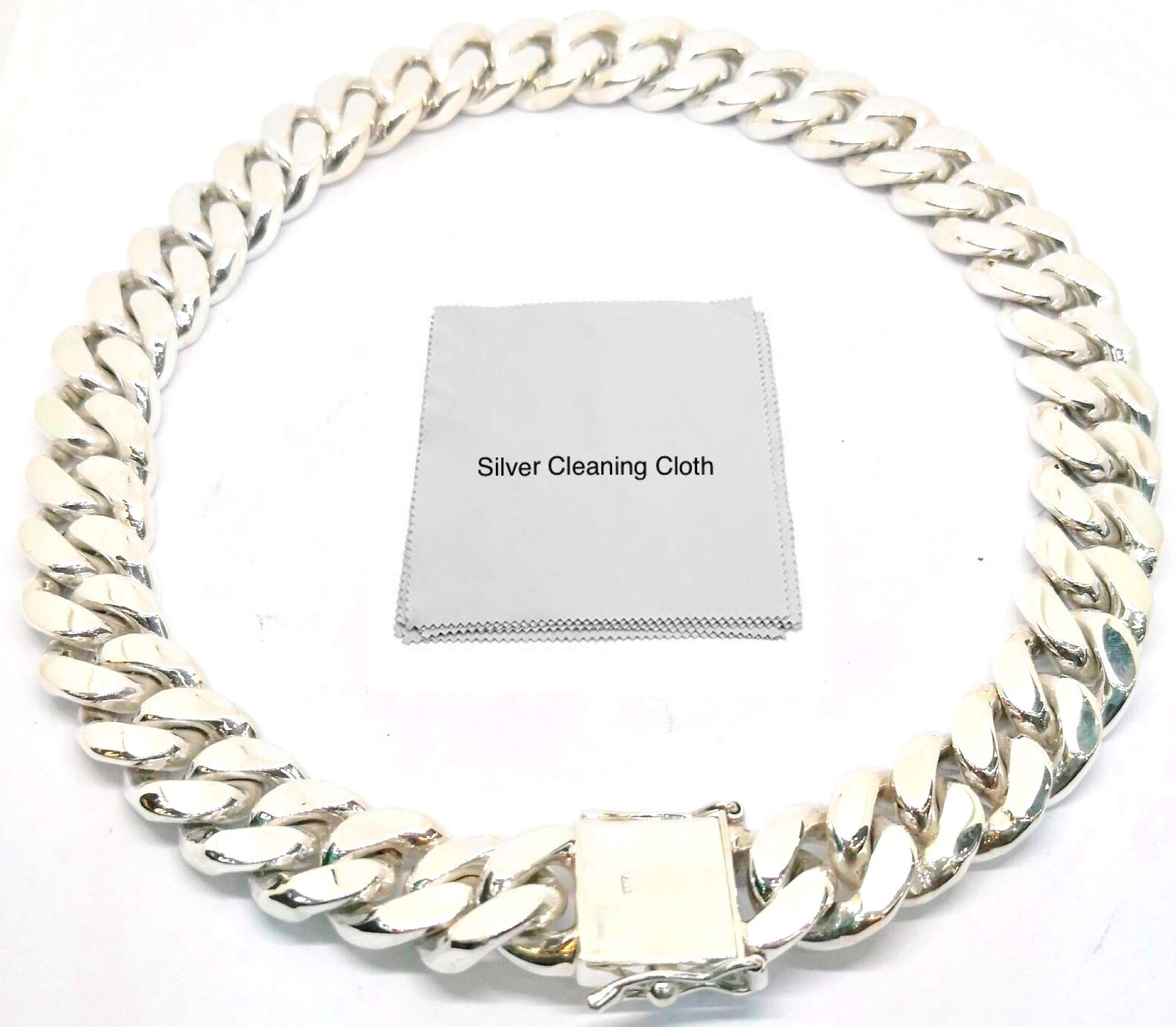 joy-nin Huge 925 Sterling Silver 15 mm Cuban Link Curb Chain Necklace for Men with Silver Cleaning Cloth and Velvet Box (24)