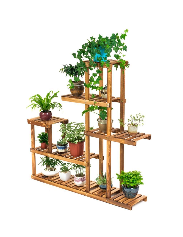 LB huajia ZHANWEI Mehrschichtiger Massivholz-Blumen-Zahnstange-Fußboden-Pflanzer-Regal-hölzerner Pflanzer-Feld-Wohnzimmer mit Balkon-Blumen-Regal